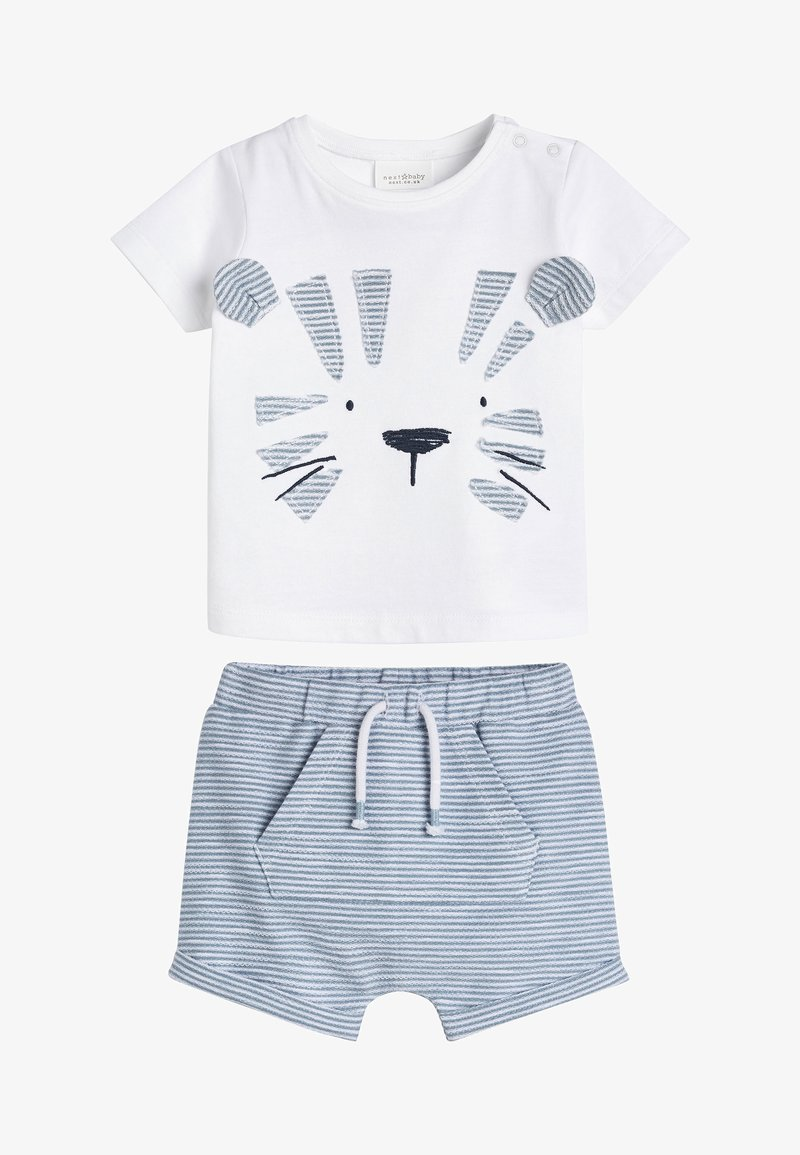 Next - BLUE TIGER APPLIQUé T-SHIRT AND SHORTS SET (0MTHS-3YRS) - Shorts - white