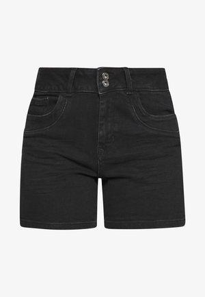 CAJSA - Short en jean - used dark stone black denim
