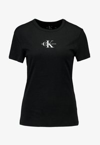 Calvin Klein Jeans - MONOGRAM SLIM RINGER TEE - Print T-shirt - black - 3