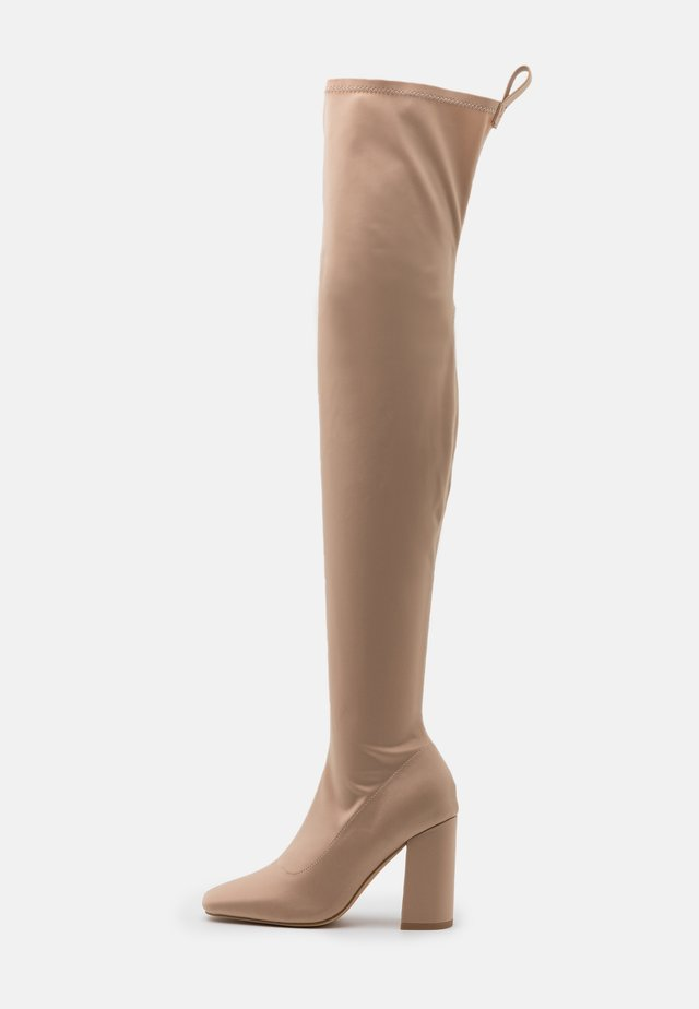 SQUARE TOE BOOTS - High heeled boots - sand