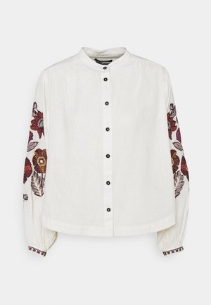 EMBROIDERED TOP WITH VOLUMINOUS SLEEVES - Button-down blouse - ecru