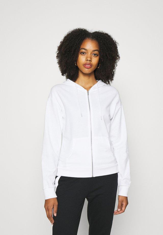 REGULAR FIT ZIP UP HOODIE JACKET - Zip-up hoodie - white