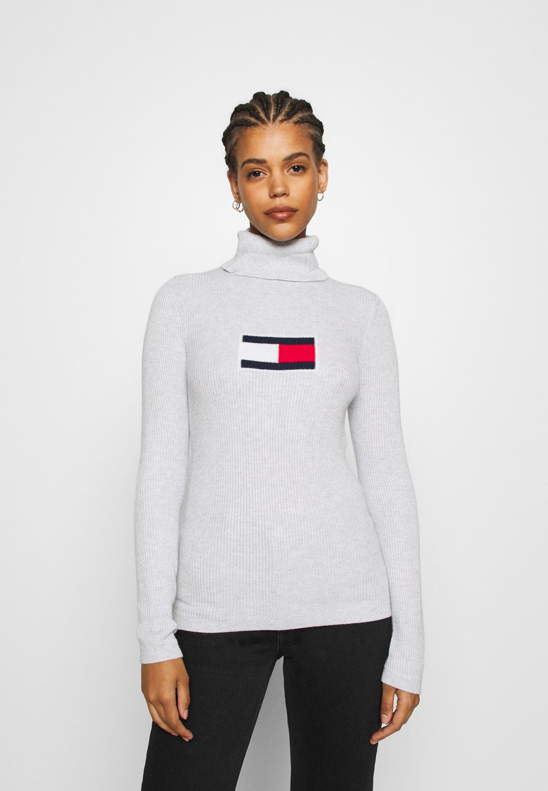 Tommy Jeans - FLAG ROLL NECK - Jumper - silver grey