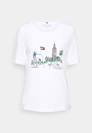 REGULAR BOX TOWER OPEN TEE - Print T-shirt - white