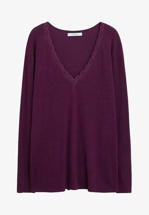 LACE DETAIL - Sweatshirt - maroon