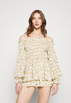 FLORAL FRILL BARDOT SHIRRED PLAYSUIT - Mono - cream