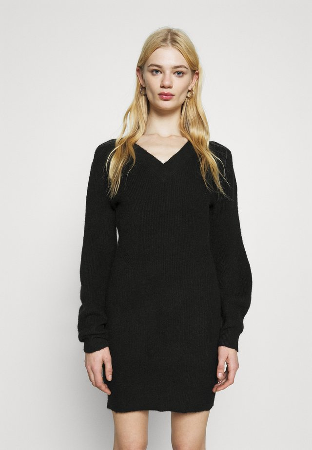 SLEEVE MINI DRESS - Jumper dress - black
