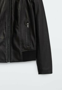 Massimo Dutti - MIT RIPPENMUSTER  - Leather jacket - black - 3