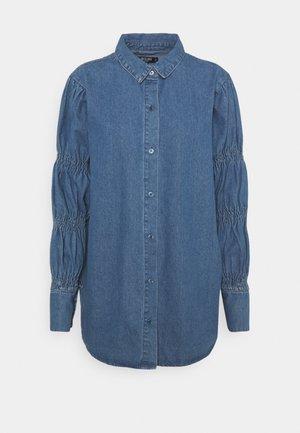 ELASTICATED PUFF SLEEVE DRESS - Vestido vaquero - blue