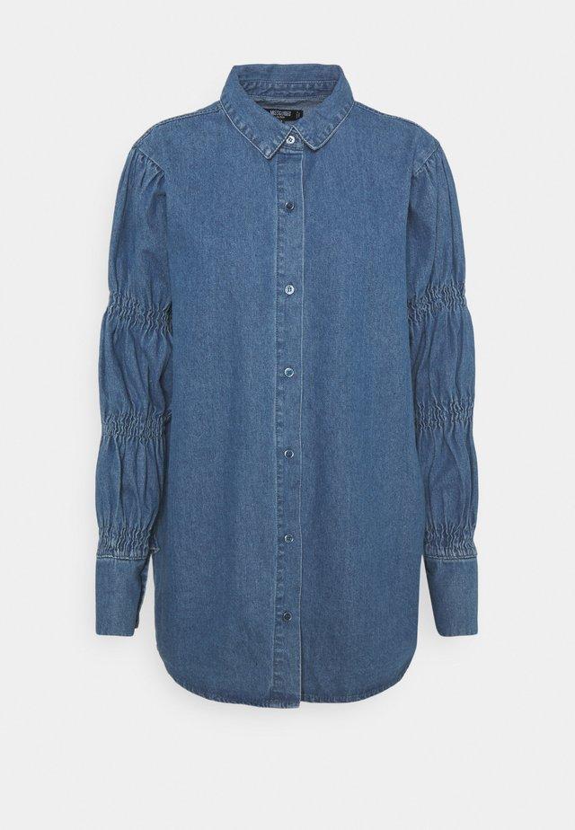 ELASTICATED PUFF SLEEVE DRESS - Spijkerjurk - blue