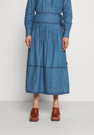 TIERED SKIRT - Wrap skirt - dark chambray