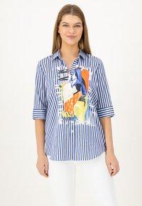 JUST WHITE - Button-down blouse - indigo streifen - 0