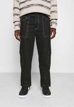 MIRROR CONTRAST STITCH TROUSER - Cargo trousers - black