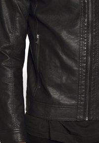 Jack & Jones - JORWARNER JACKET - Faux leather jacket - black - 4