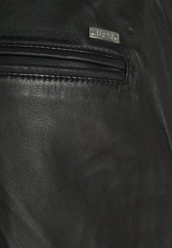 Tigha ALEKO CROPPED - Spodnie skÓrzane - black/czarny Odzież Męska XVHO