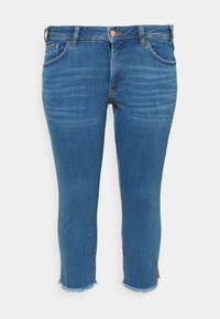 MY TRUE ME TOM TAILOR - FRAYED HEM - Slim fit jeans - clean mid stone blue denim - 0