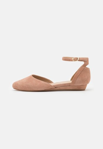LEATHER - Ankle strap ballet pumps - beige