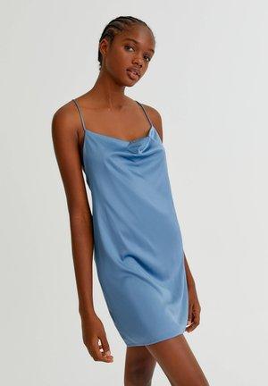 SATINIERTES DRAPIERTEM AUSSCHNITT - Cocktail dress / Party dress - blue grey
