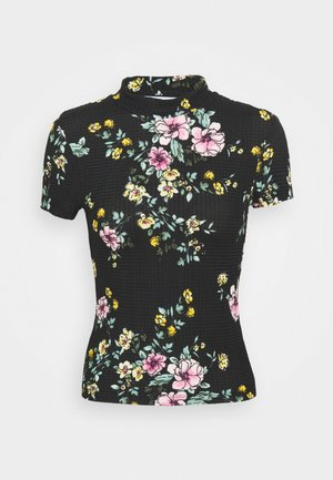 ONLZILLE SMOCK NECK  - T-shirts med print - black/big flower