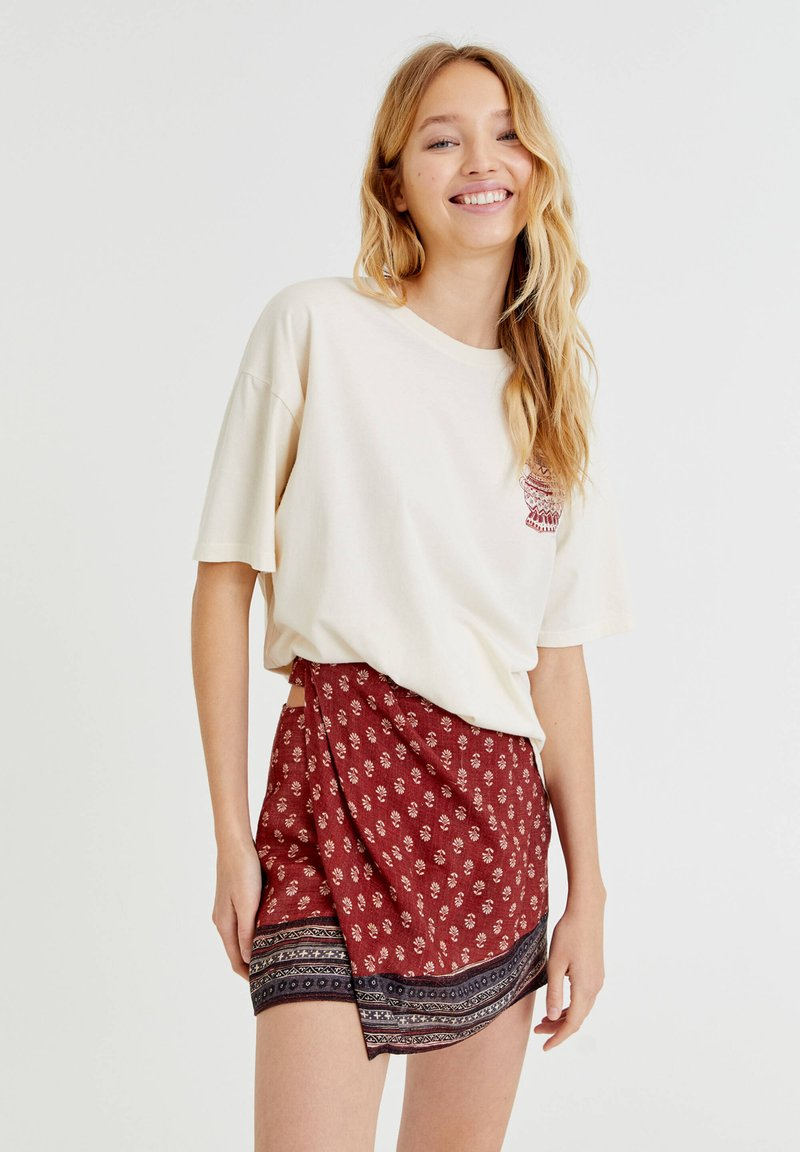 PULL&BEAR - Wrap skirt - mottled light red