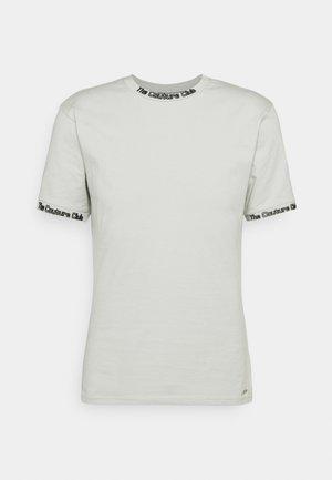 FLOCK DETAIL SLIM FIT T SHIRT - T-shirts - sage green