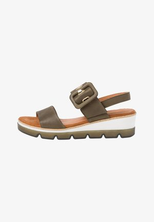 Wedge sandals - khaki