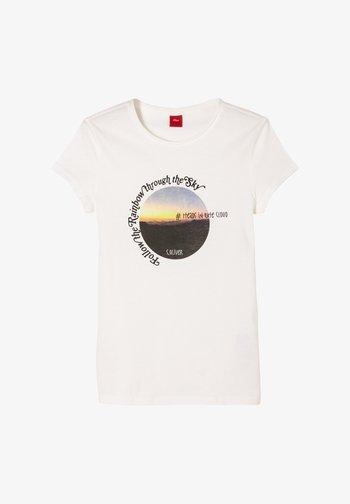 MIT FOTOPRINT - Print T-shirt - cream
