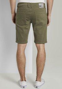 TOM TAILOR DENIM - Denim shorts - dry greyish olive - 2