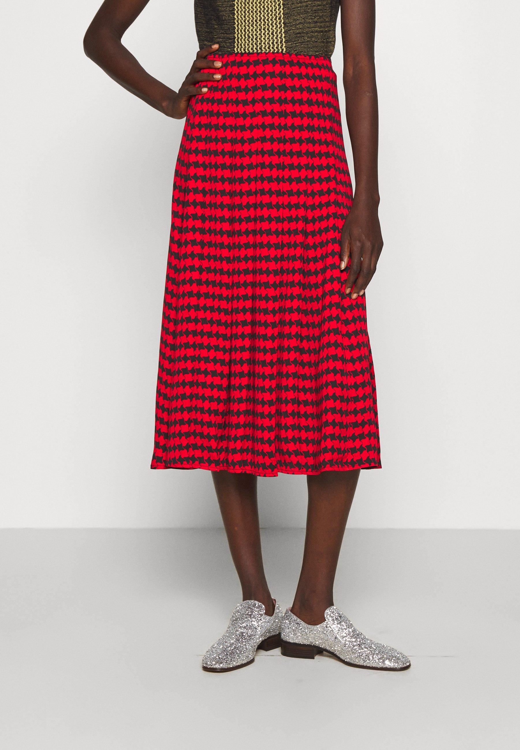 Women PLEATED SKIRT - Pleated skirt - red/black