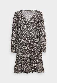 Marc O'Polo - DRESS A-SHAPE GATHERINGS V-NECK LONG SLEEVE - Day dress - black - 3
