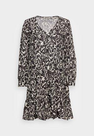 DRESS A-SHAPE GATHERINGS V-NECK LONG SLEEVE - Day dress - black