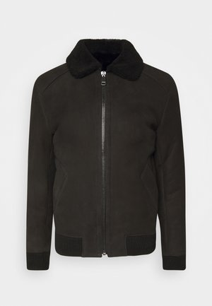 MERINO SEMICURLY BURGALESE  - Veste en cuir - suede black