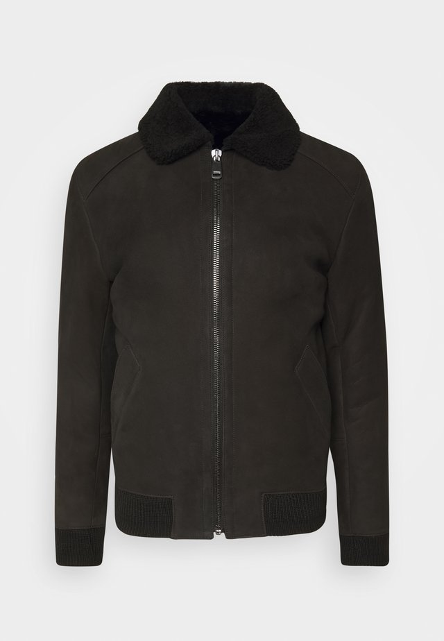 MERINO SEMICURLY BURGALESE  - Leather jacket - suede black