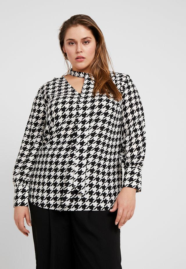 LONG SLEEVE TIE NECK BLOUSE - Pusero - dogtooth