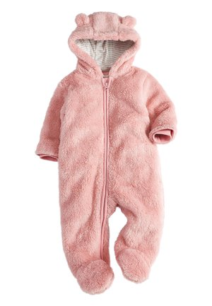 PINK BEAR FLEECE ALL-IN-ONE (0MTHS-2YRS) - Mono - pink