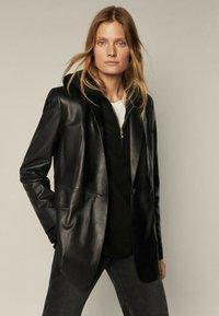 Massimo Dutti - MIT GÜRTEL - Leather jacket - black - 2