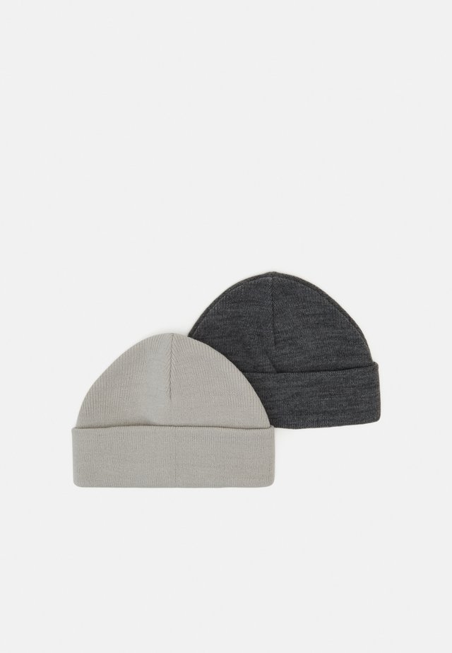 2 PACK SHORT BEANIE - Huer - dark grey/offwhite
