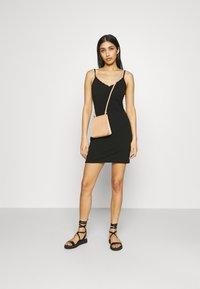 Even&Odd - Scallop edge mini strap dress - Shift dress - black - 1