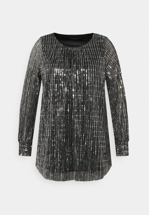 SEQUIN SHIRRED CUFF - Camiseta de manga larga - black
