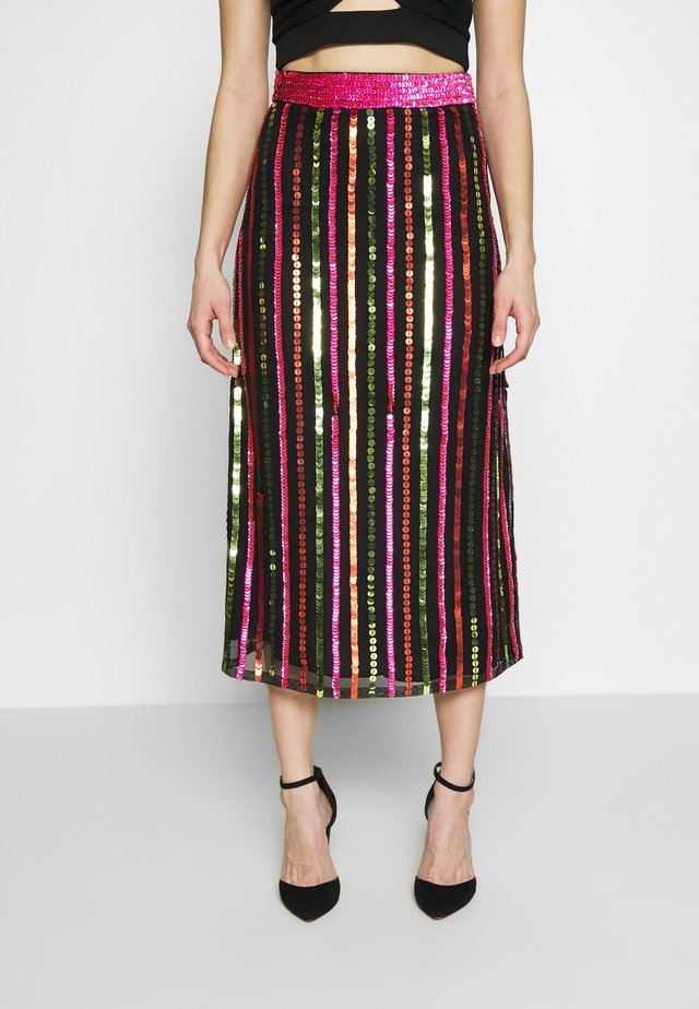 LAELIA SKIRT - Gonna a campana - washed black/multi