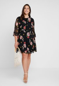 Simply Be - FLORAL SKATER DRESS - Day dress - black - 2