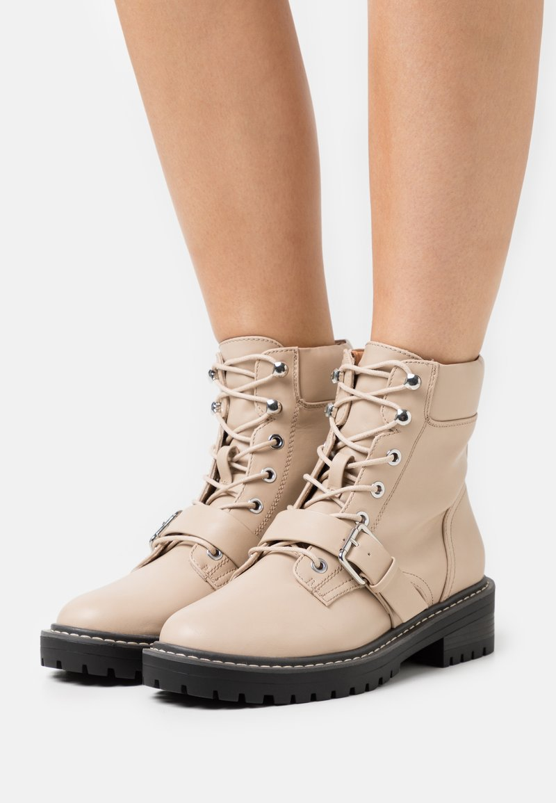 ONLY SHOES - ONLBOLD PADDED LACE UP BOOTIE  - Lace-up ankle boots - beige