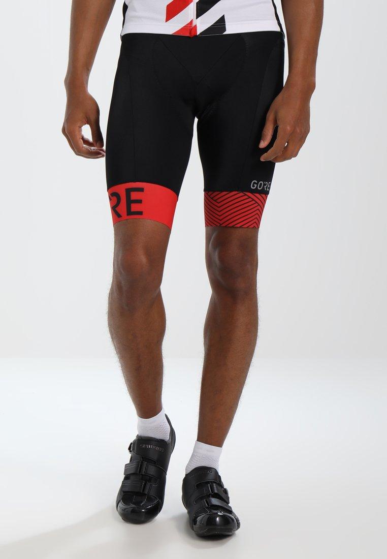 Gore Wear - C5 OPTILINE KURZE TRÄGERHOSE - Punčochy - black/red