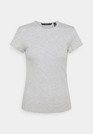 VMLENA CAP SLEEVE - T-shirts - light grey melange
