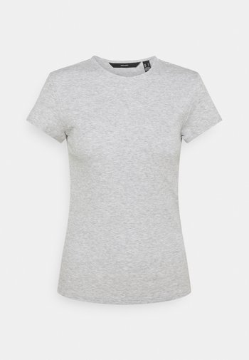 VMLENA CAP SLEEVE - Camiseta básica - light grey melange
