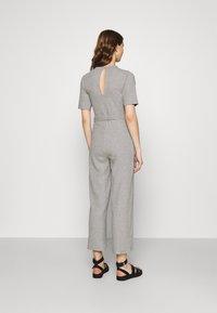 Even&Odd - BASIC - Ribbed short sleeves belted jumpsuit - Jumpsuit - mottled grey - 2