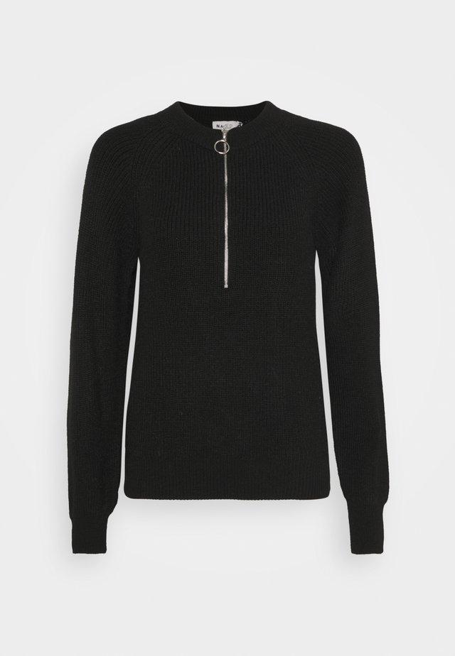 ZIPPER FRONT - Stickad tröja - black