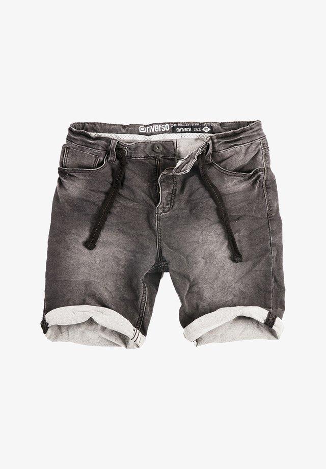 RIVFRED - Denim shorts - black denim