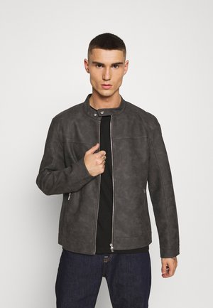 ONSJASPER - Faux leather jacket - grey pinstripe