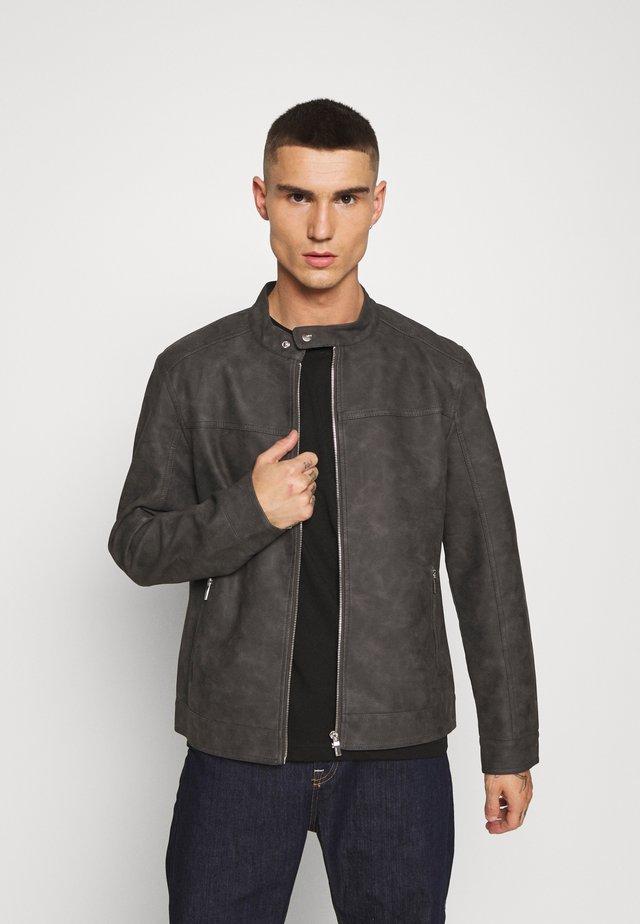 ONSJASPER - Faux leather jacket - grey pinstripe